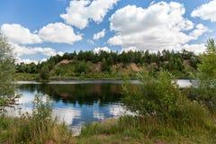 Petite montagne envahie avec des arbres, sur les banques de la photo Photographie stock libre de droits