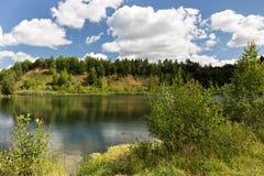 Petite montagne envahie avec des arbres, sur les banques de la photo Photos libres de droits