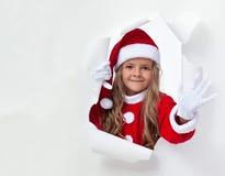 Petite ondulation de fille de Santa Photographie stock libre de droits