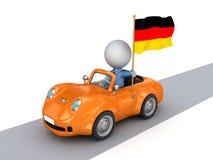 petite personne 3d sur le véhicule orange avec l'indicateur allemand. Illustration Libre de Droits