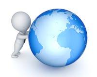 petite personne 3d et globe. Image stock