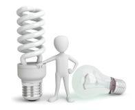 petite personne 3d - normale et ampoule d'épargnant. Image libre de droits