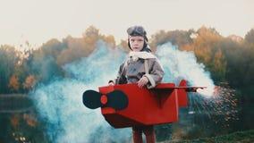 Petite position heureuse de garçon d'aviateur au lac de coucher du soleil dans le costume plat de carton avec de la fumée de coul clips vidéos
