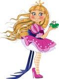 Petite princesse blonde avec la grenouille Photographie stock libre de droits