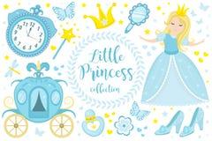 Petite princesse mignonne Cinderella a placé des objets Élément de conception de collection avec la jolie fille, chariot, montre, image stock