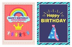 Petite princesse Two Festive Posters de joyeux anniversaire Photographie stock libre de droits