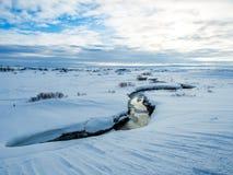 Petite rivière au milieu de neige pendant l'hiver Photo libre de droits