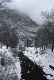 Petite rivière fonctionnant vers la montagne photo stock