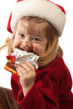 petite Santa d'isolement par chapeau gastronome Photo stock