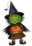 Petite sorcière verte Photos stock