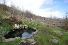 Petite source thermale naturelle Krosslaug sur le flanc de coteau en Islande Photos stock