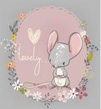 Petite souris mignonne avec des fleurs illustration stock