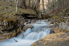 Petite tache floue de Forest Waterfall Long Exposure Water Photos stock