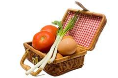 Petite valise de Wattled avec des produits alimentaires Image stock