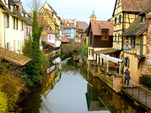 Petite Venice in Colmar. Watercourse and houses in Petite Venice Quarter, Colmar.France stock images