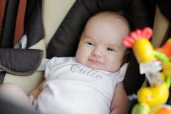 Petite vieille chéri de deux mois dans un siège de véhicule Image libre de droits