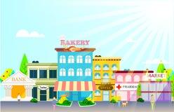 Petite ville avec de petites et moyennes affaires. Images stock