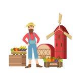Petite ville barbue de Selling Vegetables In d'agriculteur Photographie stock libre de droits