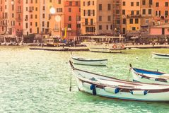 Petite ville de Porto Venere de vue panoramique de Cinque Terre photo libre de droits