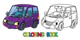 Petite voiture drôle avec des yeux Livre de coloration Photographie stock