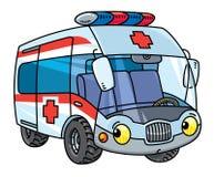 Petite voiture drôle d'ambulance avec des yeux illustration stock