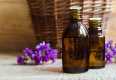 Petites bouteilles d'huile essentielle Image stock