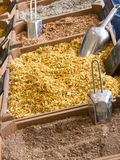Petites caisses en bois avec de divers types des épices et de grai hachés Photos stock