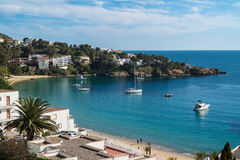 Petites Canyelles Beach in Roses, Costa Brava, Catalonia, Spain Royalty Free Stock Photography
