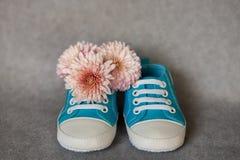 Petites chaussures de bébé bleu avec les fleurs roses, maternité Photographie stock libre de droits