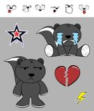 Petites expressions mignonnes de bande dessinée de mouffette réglées Photographie stock