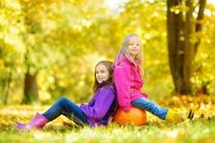 Petites filles adorables ayant l'amusement sur une correction de potiron le beau jour d'automne Image stock