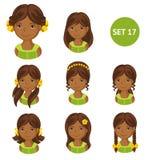 Petites filles africaines mignonnes avec la diverse coiffure illustration de vecteur