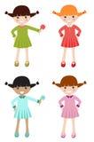 Petites filles avec le vêtement différent de couleur Photographie stock libre de droits