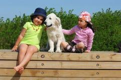 Petites filles avec un chien d'arrêt d'or Photographie stock libre de droits