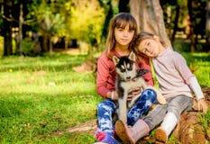 Petites filles jouant avec le chiot enroué en parc Images libres de droits
