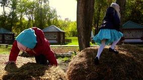 Petites filles jouant sur des meules de foin Mouvement lent banque de vidéos