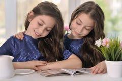 Petites filles jumelles lisant un magazine Photos libres de droits