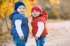 Petites filles - les amies marchent en parc Image stock