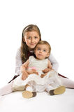 Petites filles sur le fond blanc Images libres de droits