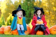 Petites filles utilisant le costume de Halloween sur une correction de potiron Photographie stock libre de droits