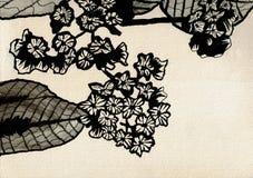 Petites fleurs avec des feuilles - dessin d'encre illustration libre de droits