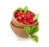 Petites fraises sauvages dans une cuvette en bois avec des feuilles Images stock
