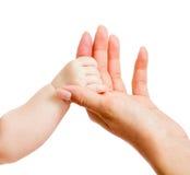 Petites mains de chéri et de mère d'isolement sur le blanc Image stock