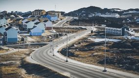 Petites maisons colorées Nuuk, Groenland Mai 2014 Photo libre de droits