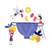 Petites personnes - enfants - cuisson du plat de fruit dans le style plat de bande dessinée de cuvette énorme illustration de vecteur