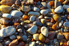 Petites pierres de mer, les pierres au bord de la mer Photo libre de droits