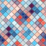 Petites places diagonales dans le stylle de patchwork avec l'ornement de Paisley Photos libres de droits