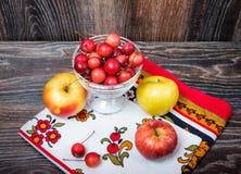 Petites pommes de paradis et les grandes pommes habituelles Image stock