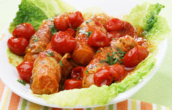 Petites saucisses avec des pousses Photo libre de droits