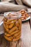 Petites saucisses sur le bois Photographie stock